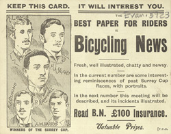 Advert for 'Bicycling News', periodical